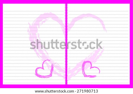 Blank note paper, books and notebooks with a pink heart for the love messages and notes. - stock vector