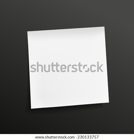 blank note paper isolated on black background - stock vector