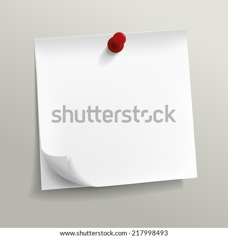 blank note paper with pin on grey background - stock vector
