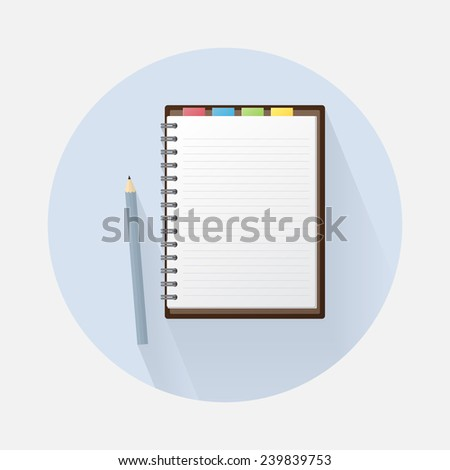 Blank Notebook and Pencil on Circle Background. Lined Paper with Ring Binder - stock vector
