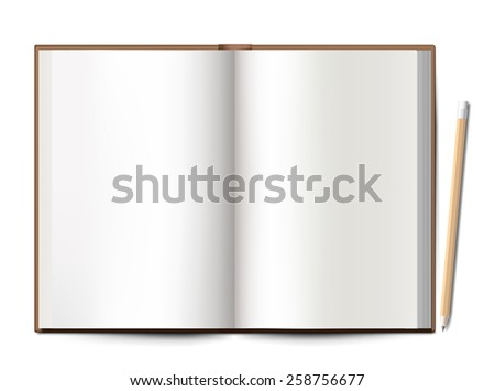 blank notebook spread with pencil on white background  - stock vector