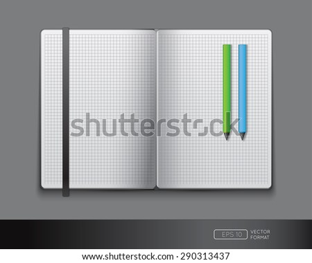 Blank notebook template with bookmark and pens - Vector illustration. - stock vector