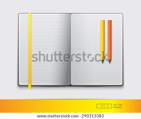 Blank notebook template with colorful bookmark and pens - Vector illustration. - stock vector