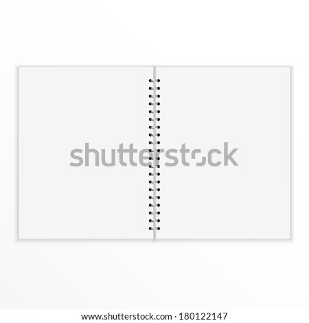 Blank notebook with blank place for text and notes. isolated on white. Open and empty - stock vector
