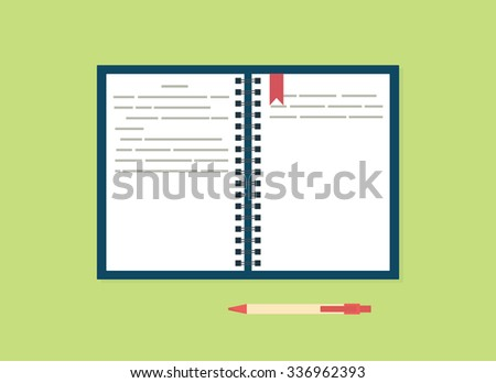 blank notebook with pen. flat simple design - stock vector