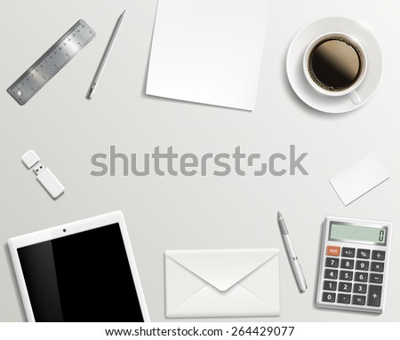 Blank office desk background. Vector image. - stock vector