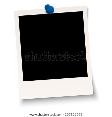 Blank old photo with pin needle - stock vector