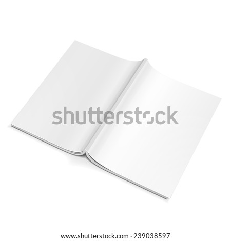 Blank Opened Magazine Back Cover, Book, Booklet, Brochure. On White Background Isolated. Mock Up Template Ready For Your Design. Product Packing Vector EPS10 - stock vector