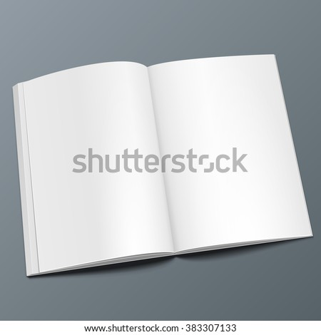 Blank Opened Magazine, Book, Booklet, Brochure. Illustration Isolated On Gray Background. Mock Up Template Ready For Your Design. Vector EPS10 - stock vector