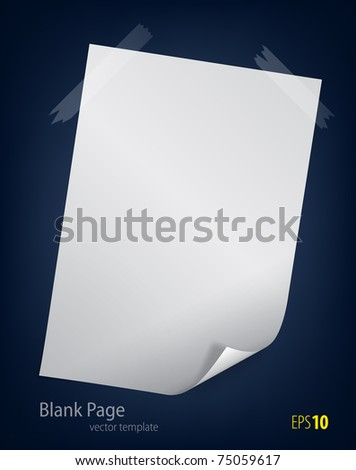Blank page on dark background - stock vector