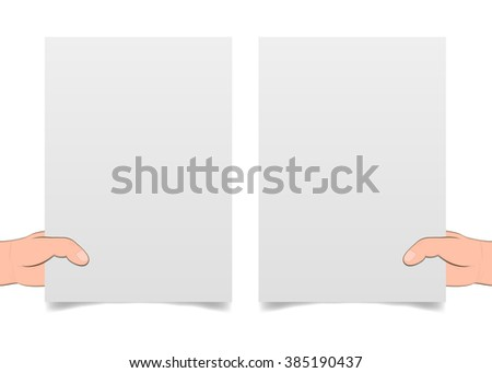 Blank pages in the hands of a shadow. Banner advertising and posters. hands holding paper isolated on white. Hand holding blank paper, vector - stock vector