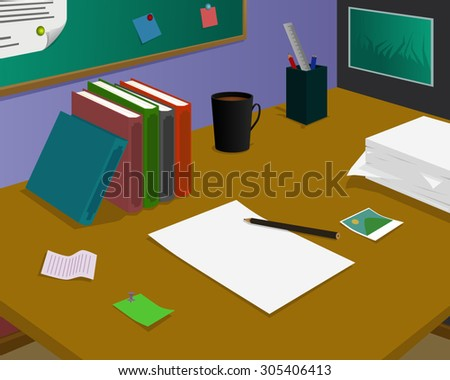 Blank paper at the desk, was waiting for ideas - stock vector
