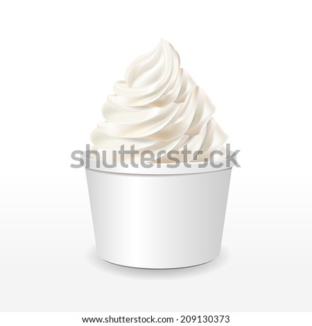 blank paper cup with milk ice cream isolated over white background - stock vector