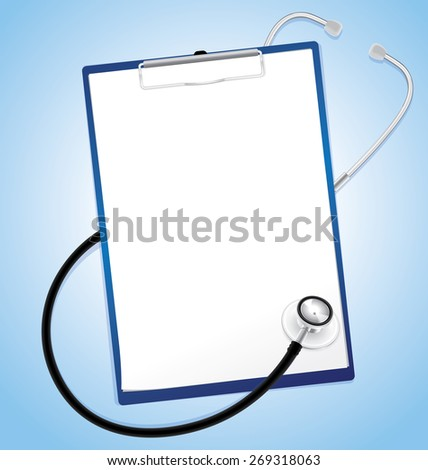 Blank paper in clipboard with stethoscope, medical concept, vector 10 - stock vector