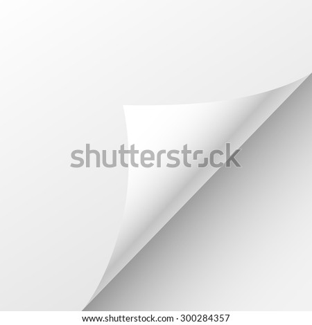Blank Paper Sheet Curl Corner, Empty Page Bend Vector illustration - stock vector