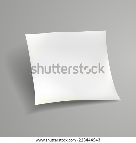 blank paper sheet template isolated on grey background - stock vector