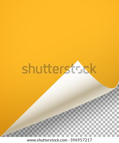 Blank paper sheet with bending corner on transparent background - stock vector