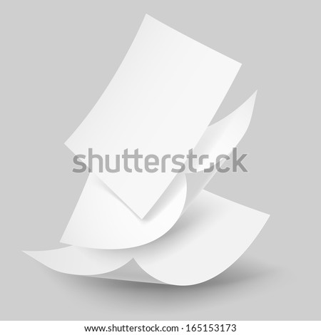 Blank paper sheets falling down. Illustration on grey background. - stock vector