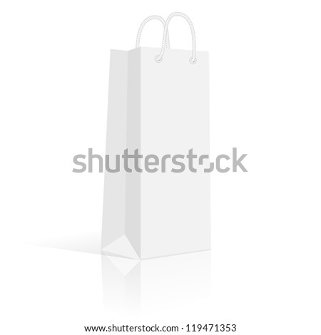 Blank paper shopping bag for a bottle. Vector, isolated. Product packaging, delivery, sale, gift - stock vector