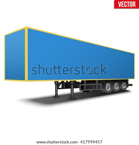 Blank parked van blue semi trailer. Perspective side view. Vector Illustration Isolated on white background - stock vector