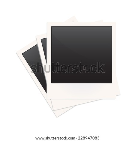 Blank photo frame in retro or old style isolated on white background. Vector illustration. - stock vector