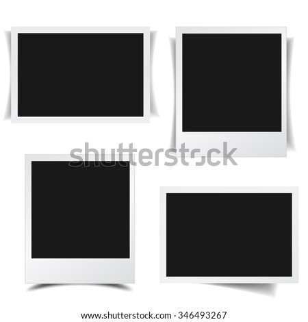 Blank photo frames collection with different shadow effects and empty space for your photograph and picture. EPS 10 vector illustration isolated on white background. - stock vector