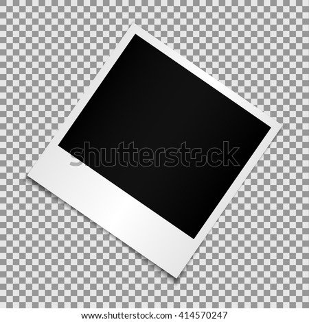Blank photo polaroid frame isolated on transparent background, shadow effect and empty space for your photography and picture. Scrapbook album decoration template. EPS 10 vector illustration - stock vector
