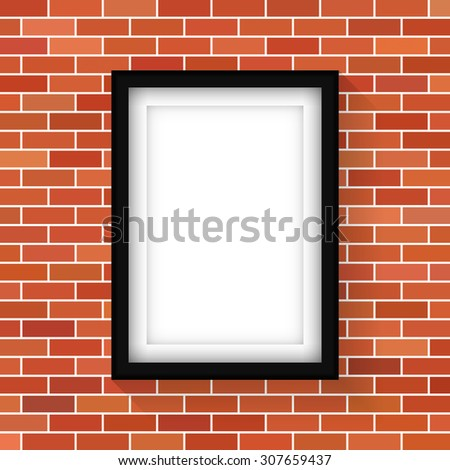 Blank picture frame on brown brick wall - Vector - stock vector