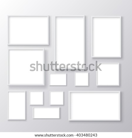 blank picture frame set - stock vector