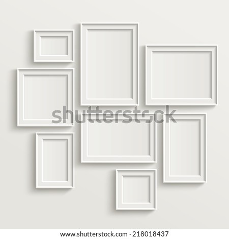 blank picture frame template set isolated on wall - stock vector