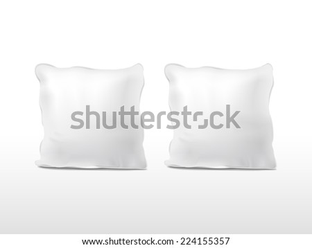 blank pillows set isolated on white background - stock vector