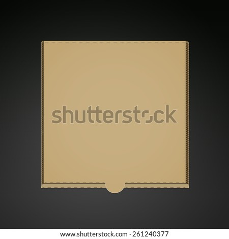 blank pizza box template isolated on black background - stock vector