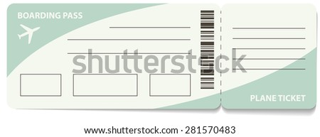 Blank plane ticket for business trip travel or vacation journey isolated vector illustration - stock vector
