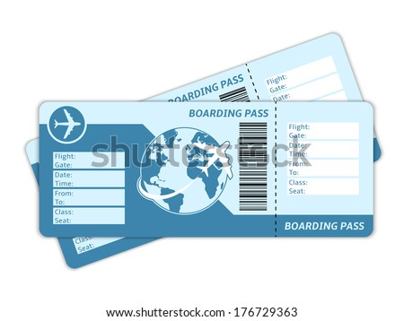 Blank plane tickets for business trip travel or vacation journey isolated vector illustration - stock vector