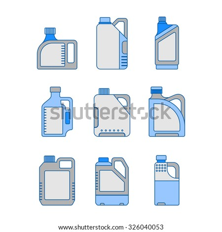 Blank Plastic Canisters, flat icons. Plastic Packaging for Machine Oil, Water and other Liquids - stock vector