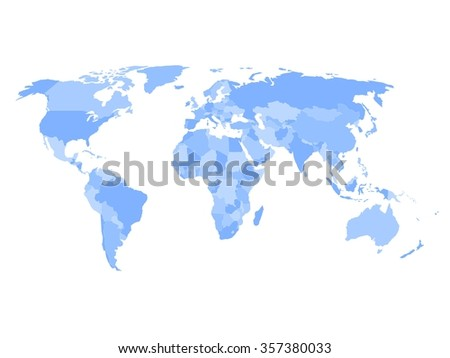 Blank political map of world in four shades of blue and white background. Simplified vector map. - stock vector