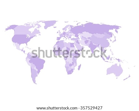 Blank political map of world in four shades of violet and white background. Simplified vector map. - stock vector