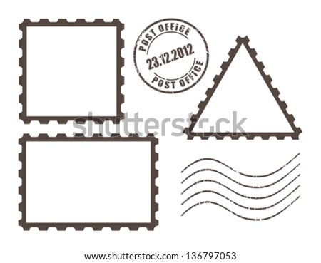 Blank post stamps, vector illustration - stock vector