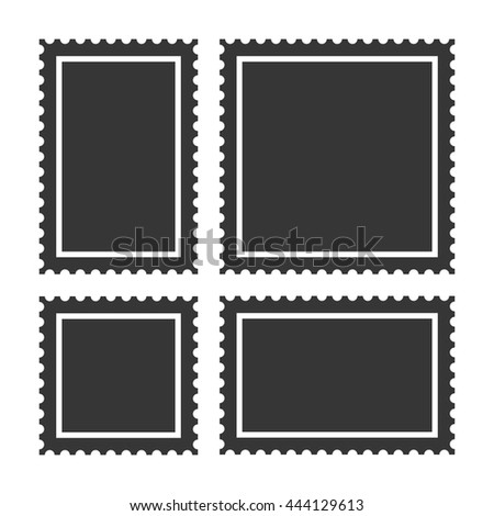 Blank Postage Stamps Set on White Background. Vector - stock vector
