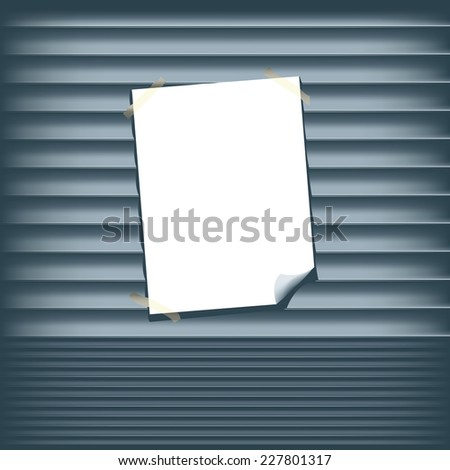 Blank Poster on a Roll Up Shutter - stock vector