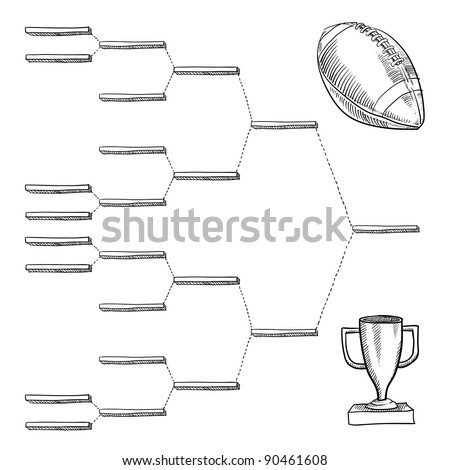 Blank professional football playoff bracket - vector file with doodle style - stock vector