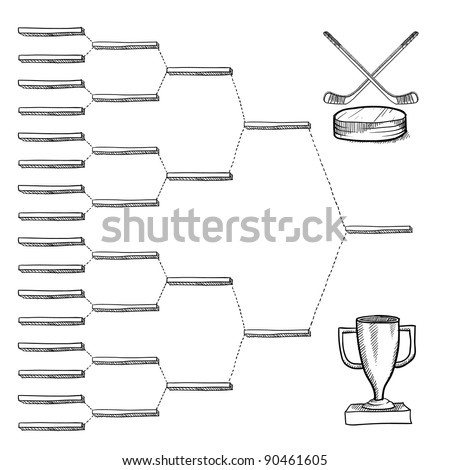 Blank professional hockey playoff bracket - vector file with doodle style - stock vector