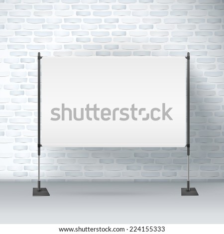 blank projector screen isolated on brick wall - stock vector