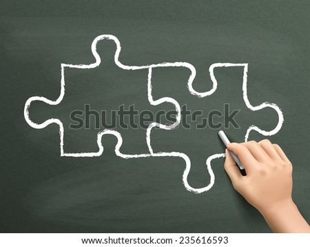 blank puzzle drawn by hand isolated on blackboard - stock vector