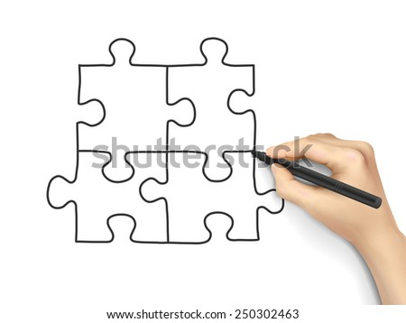 blank puzzle drawn by hand isolated on white background - stock vector