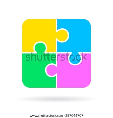 Blank puzzle swot diagram - stock vector