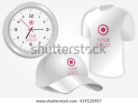 Blank realistic clock, white shirt and baseball cap isolated on white vector. Display Mock up for corporate identity and promotion objects - stock vector