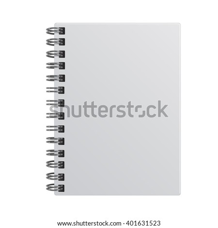 Blank realistic notebook, isolated on white background. Vector template. - stock vector