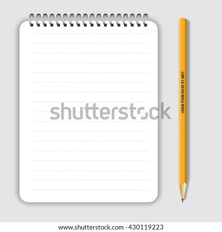 Blank realistic spiral notepad notebook and lead pencil isolated on white vector. Display Mock up for corporate identity and promotion objects - stock vector