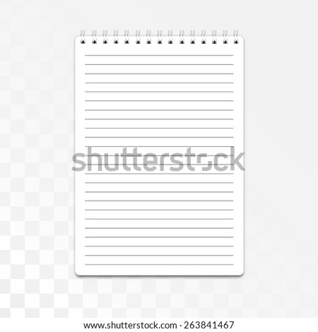 Blank realistic spiral notepad, notebook isolated on white background. Vector - stock vector